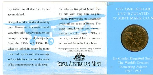 Thumbnail for 1997 Sir Charles Kingsford-Smith S Mintmark