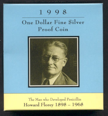 Thumbnail for 1998 Howard Florey Silver Proof Dollar Coin