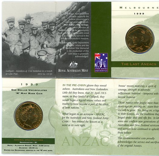 Thumbnail for 1999 The Last Anzacs M Mintmark