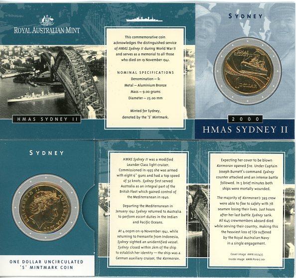 Thumbnail for 2000 HMAS Sydney II S Mintmark