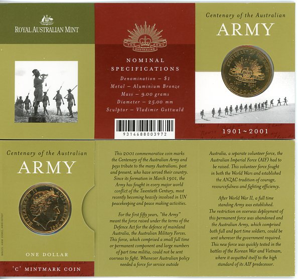 Thumbnail for 2001 Centenary of The Australian Army C Mintmark