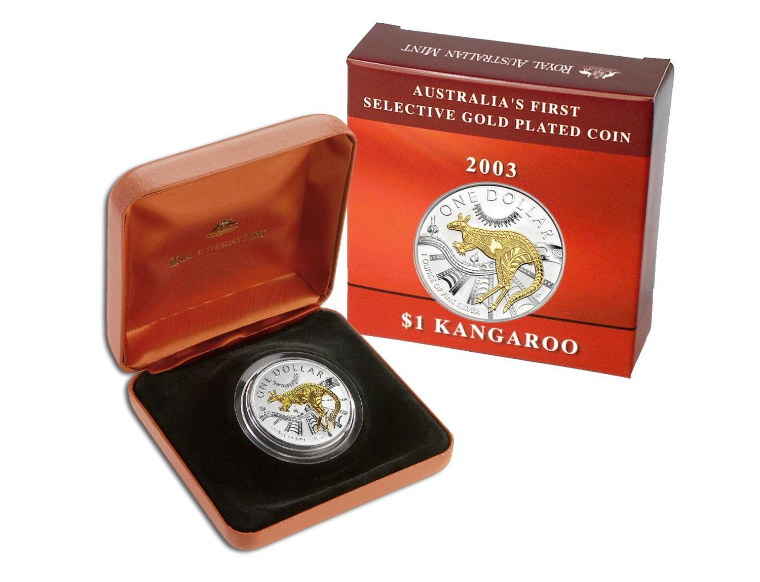 Thumbnail for 2003 Selectively Gold Plated 1oz Silver Kangaroo