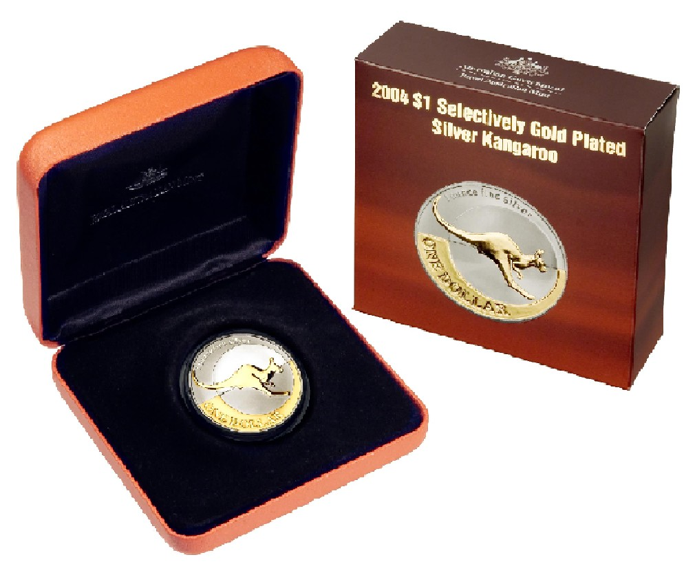 Thumbnail for 2004 Selectively Gold Plated 1oz Silver Kangaroo Proof Coin