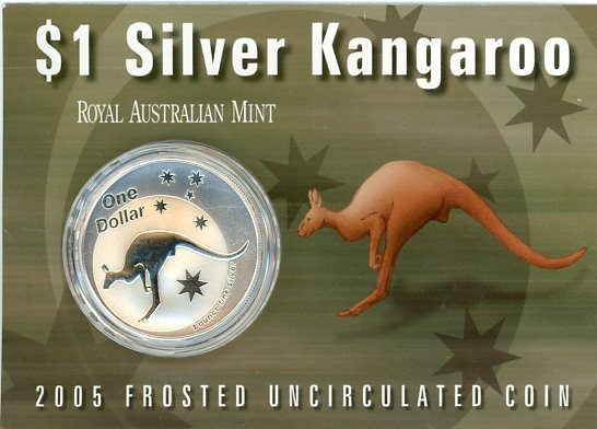 Thumbnail for 2005 1oz One Dollar Silver Kangaroo