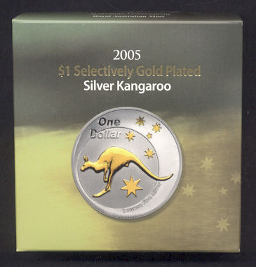 Thumbnail for 2005 Selectively Gold Plated 1oz Silver Kangaroo Proof Coin