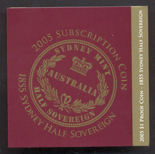 Thumbnail for 2005 Australian Subscription $1.00 Coin 1855 Sydney Half Sovereign - 60.5 grams