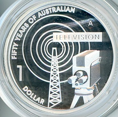 Thumbnail for 2006 One Dollar fine Silver Proof Coin - 50 Years of Australian Television