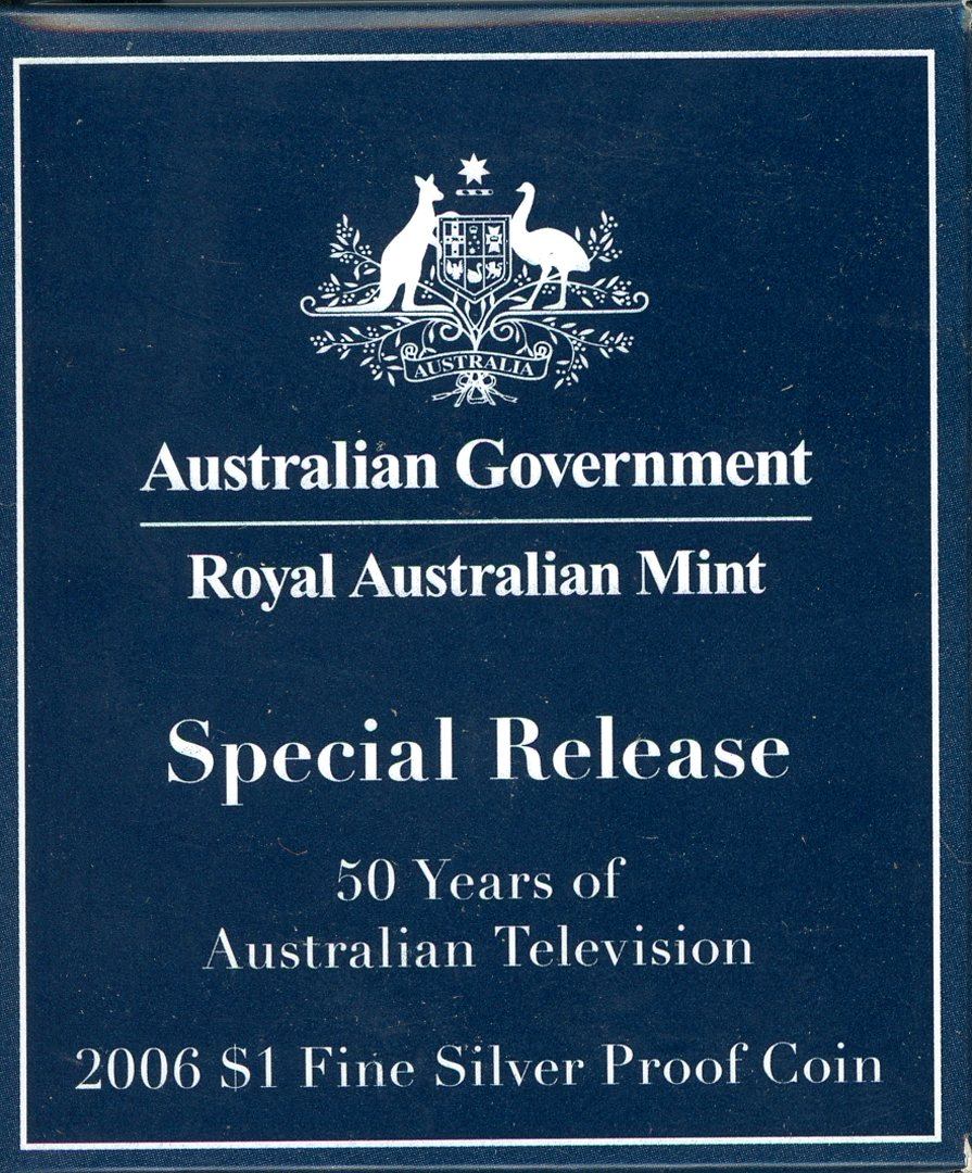 Thumbnail for 2006 $1 Fine Silver Proof Coin - 50 Years of Australian Television ANDA Issue