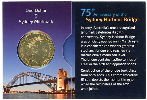 Thumbnail for 2007 75th Anniversary of the Sydney Harbour Bridge - S Mintmark