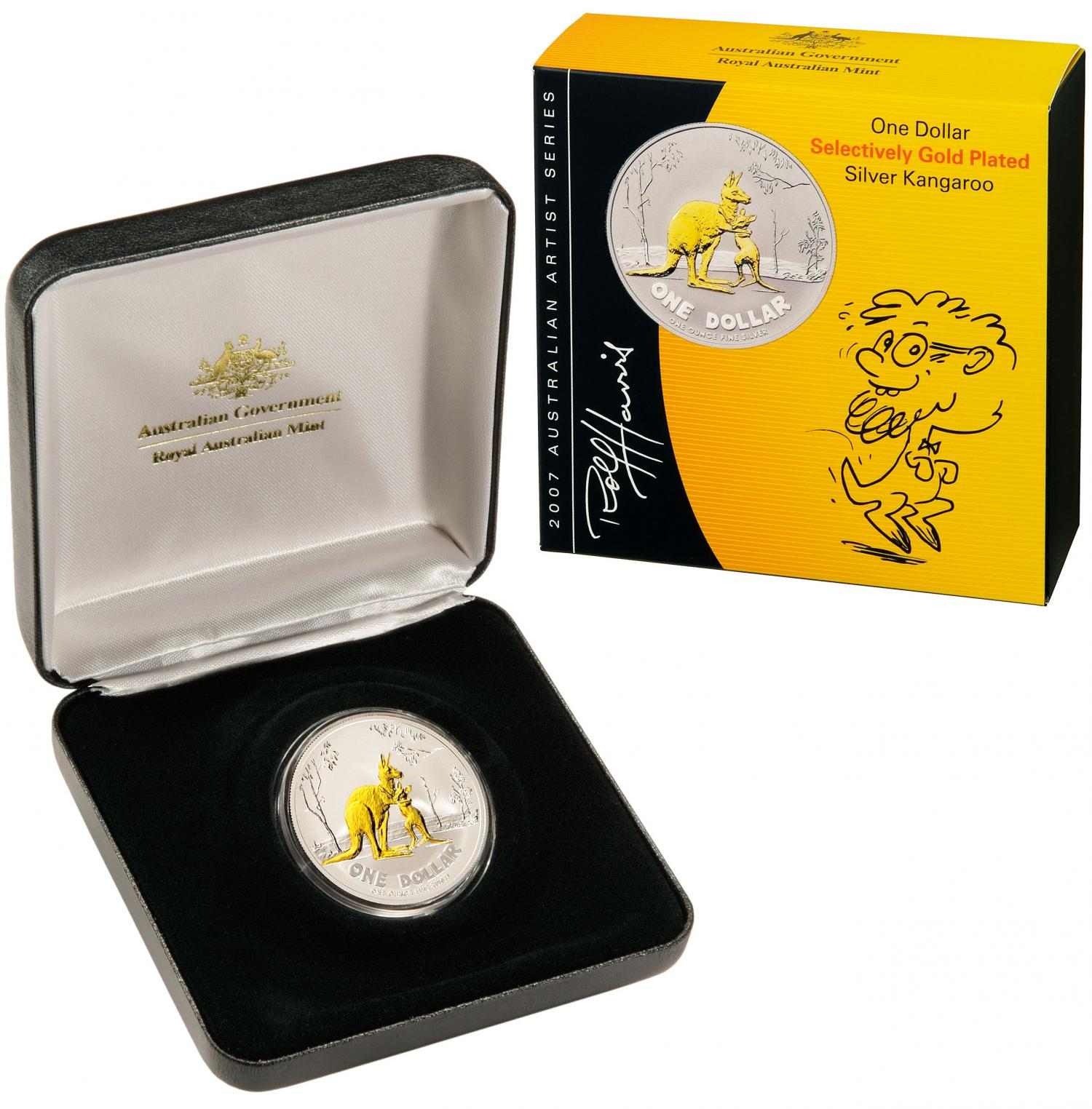 Thumbnail for 2007 Selectively Gold Plated 1oz Silver Proof Kangaroo Rolf Harris Design