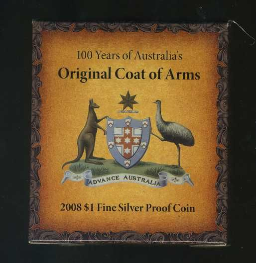 Thumbnail for 2008 $1 Fine Silver Proof Coin - 100 Years Original Coat of Arms