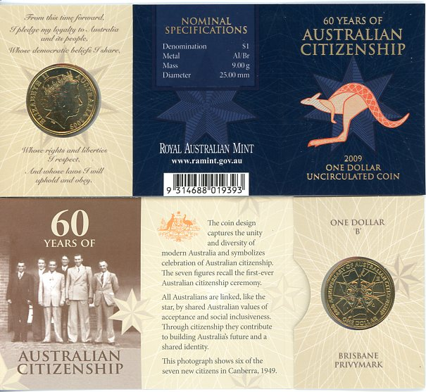 Thumbnail for 2009 60 Years of Australian Citizenship B Privy Mark