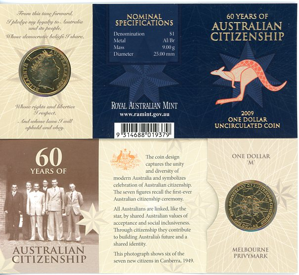 Thumbnail for 2009 60 Years of Australian Citizenship M Privy Mark