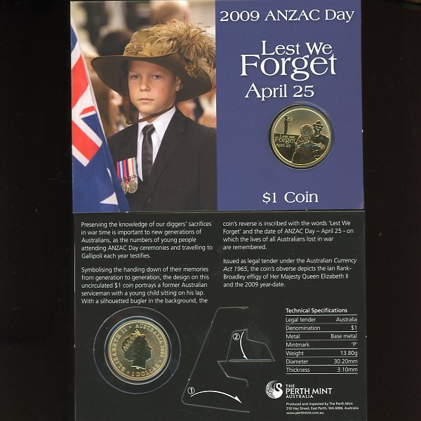 Thumbnail for 2009 Anzac Day Lest We Forget One dollar Coin