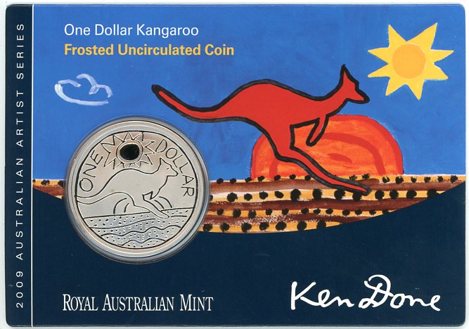 Thumbnail for 2009 Australian Artist Series  Frosted Uncirculated One Dollar Kangaroo - Ken Done
