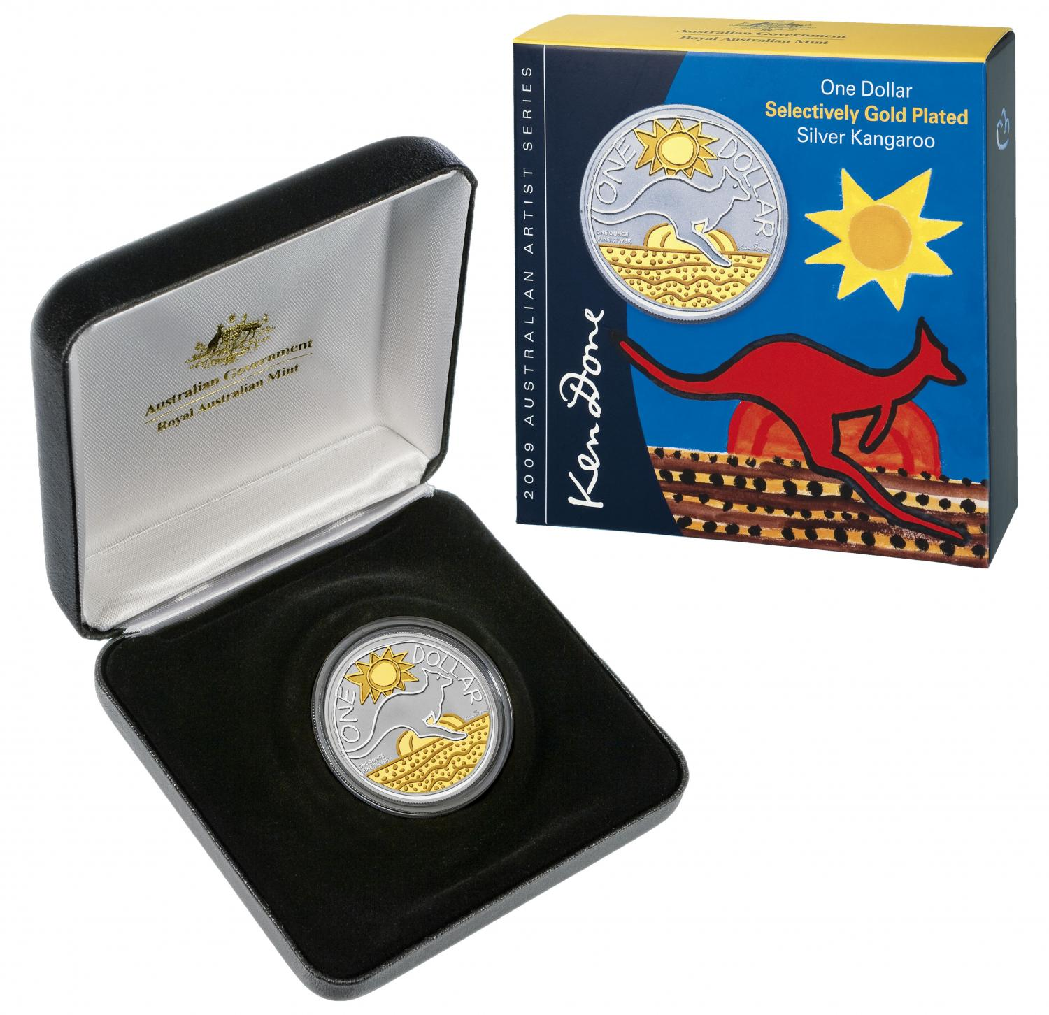 Thumbnail for 2009 Selectively Gold Plated 1oz Silver Proof Kangaroo Ken Done Design