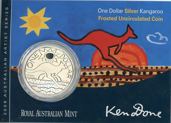 Thumbnail for 2009 $1 Silver Frosted UNC Kangaroo - Ken Done