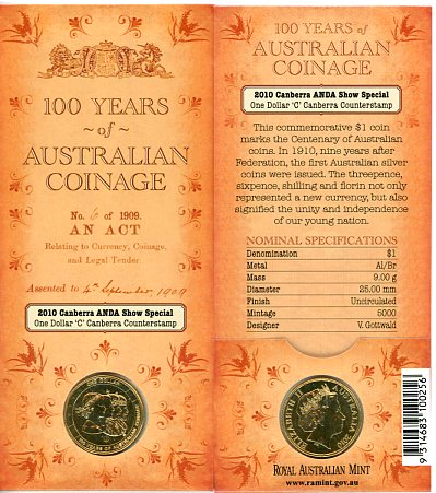 Thumbnail for 2010 100 Years of Australian Coinage - ANDA 'C' Counterstamp