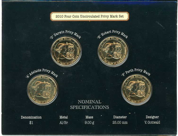 2010 100 Years Of Australian Coinage 4 Coin Set Adhp