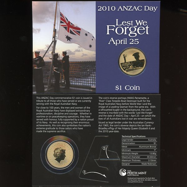 Thumbnail for 2010 ANZAC Day Lest We Forget One Dollar Coin