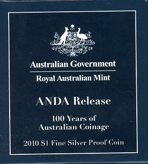 Thumbnail for 2010 $1 Fine Silver Proof Coin - ANDA Release 100 Years of Australian Coinage