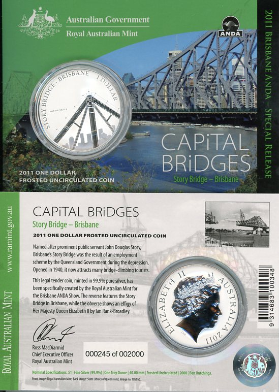 Thumbnail for 2011 1oz One Silver Dollar Frosted Coin - Capital Bridges Story Bridge Brisbane