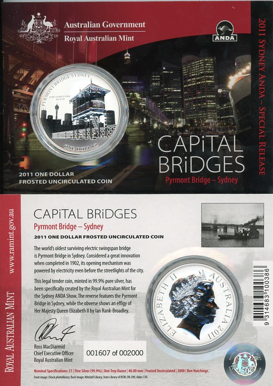 Thumbnail for 2011 1oz One Silver Dollar Frosted Coin - Capital Bridges Pyrmont Bridge Sydney
