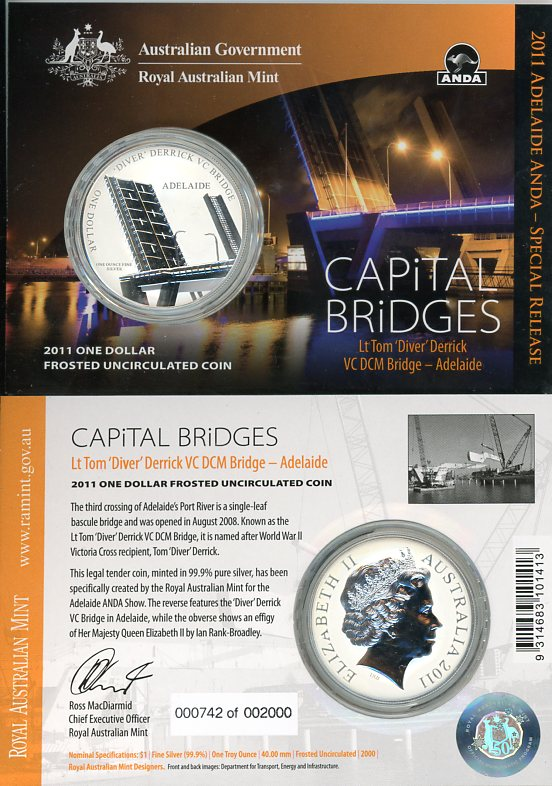 Thumbnail for 2011 1oz One Silver Dollar Frosted Coin - Capital Bridges Lt Tom 'Diver