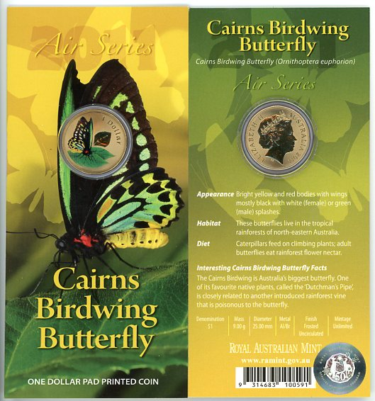 Thumbnail for 2011 $1 Coin Air Series - Cairns Birdwing Butterfly