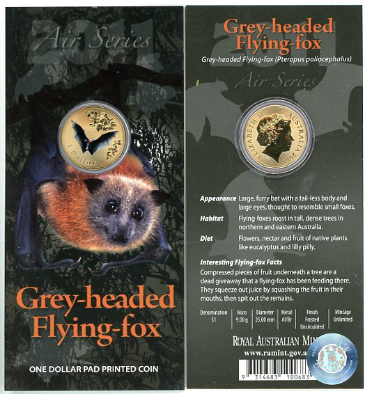 Thumbnail for 2011 $1 Coin Air Series - Grey Headed Flying Fox