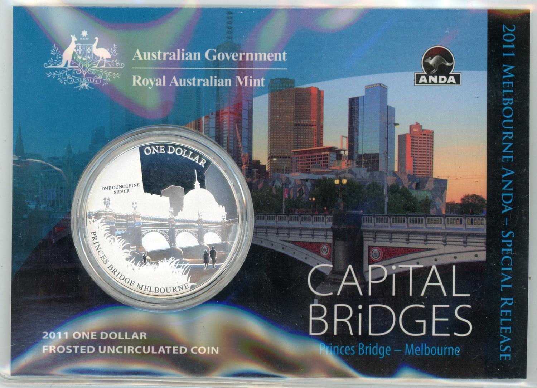 Thumbnail for 2011 $1 Silver Frosted UNC Coin Capital Bridges - Princes Bridge Melbourne