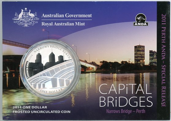 Thumbnail for 2011 $1 Silver Frosted UNC Coin - Capital Bridges Narrow Bridge, Perth