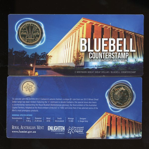 Thumbnail for 2012  C Mintmark Wheat Sheaf Dollar - Bluebell Counterstamp