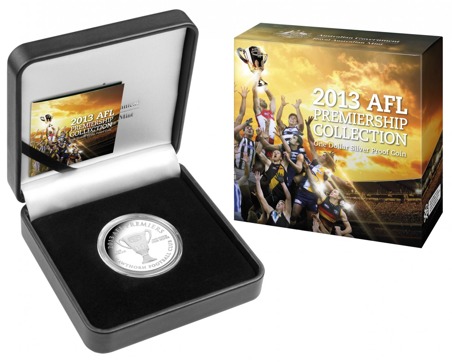 Thumbnail for 2013 AFL Premiership One Dollar 1oz Silver Proof Coin - Hawthorn