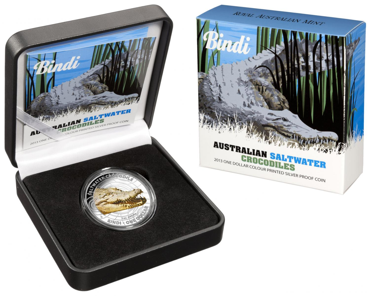 Thumbnail for 2013 1oz Coloured Silver Proof Australian Saltwater Crocodile - Bindi