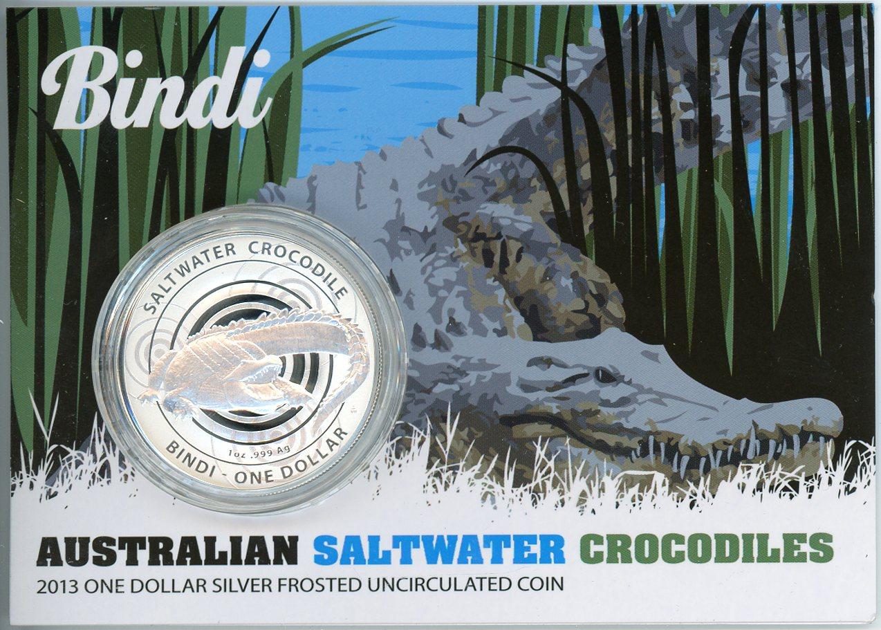 Thumbnail for 2013 $1 Silver Frosted Coin - Australian Saltwater Crocodiles