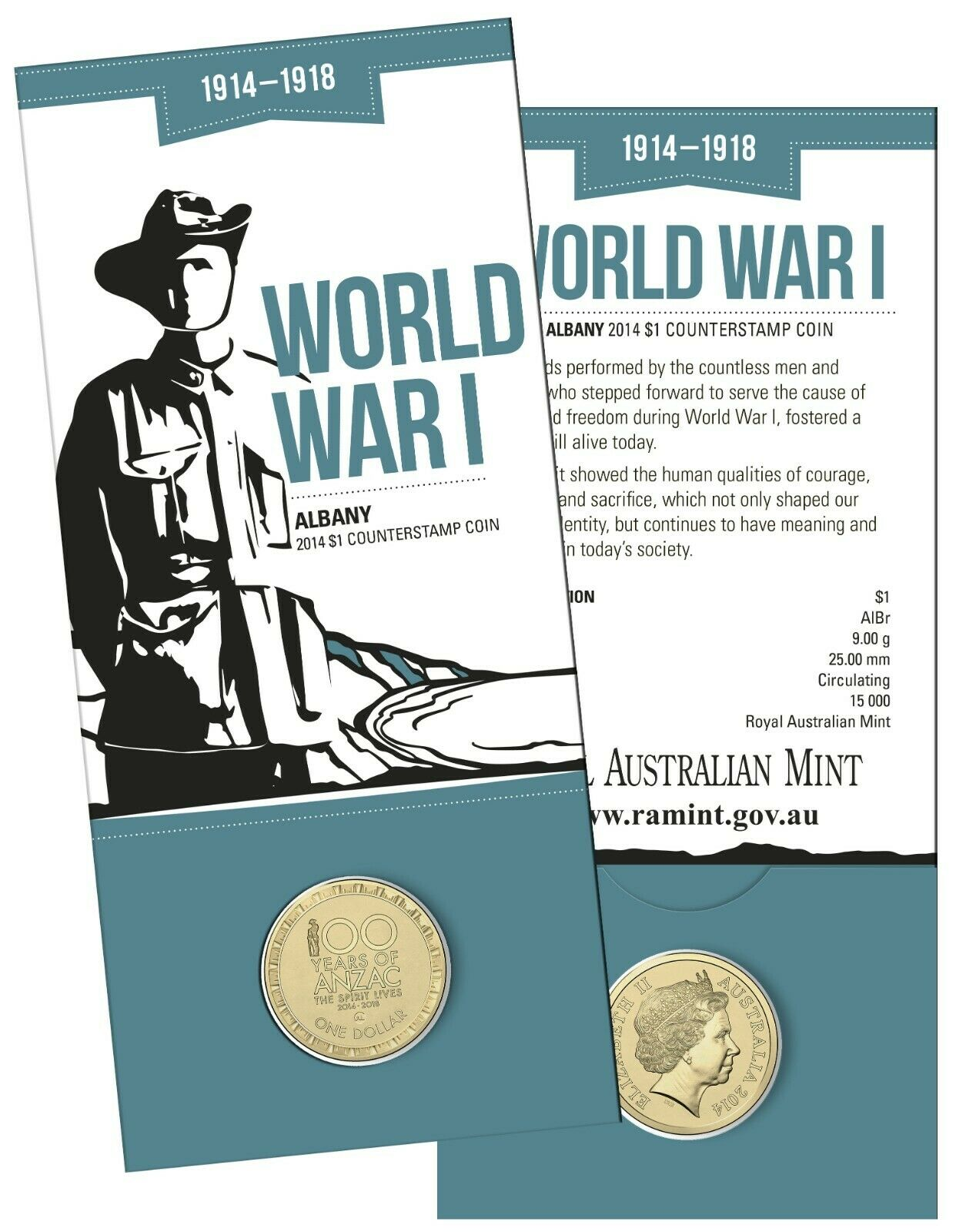 Thumbnail for 2014 Australia 100 Years of WWI $1.00 with Albany Counterstamp