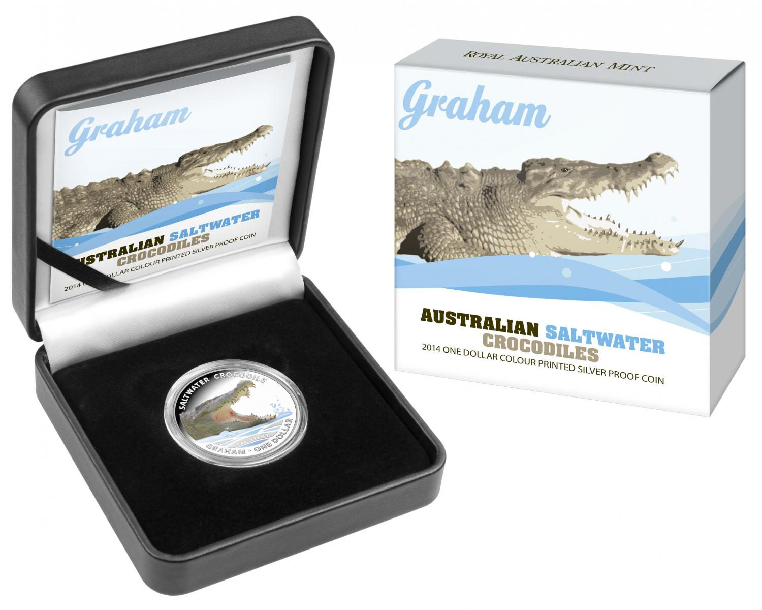 Thumbnail for 2014 1oz Coloured Silver Proof Australian Saltwater Crocodile - Graham