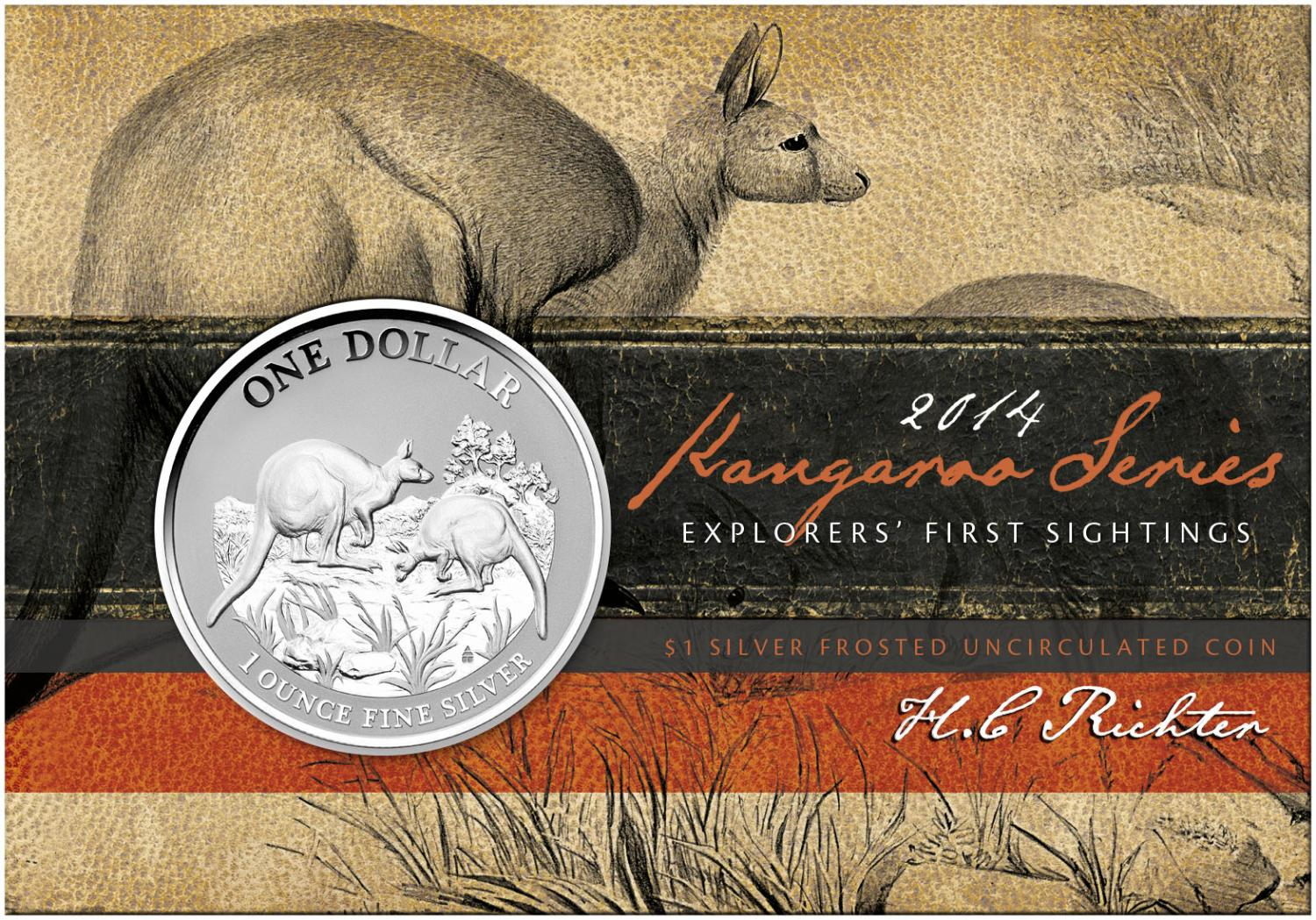 Thumbnail for 2014 $1 Silver Frosted Coin Kangaroo Series - Explorer's First Sightings