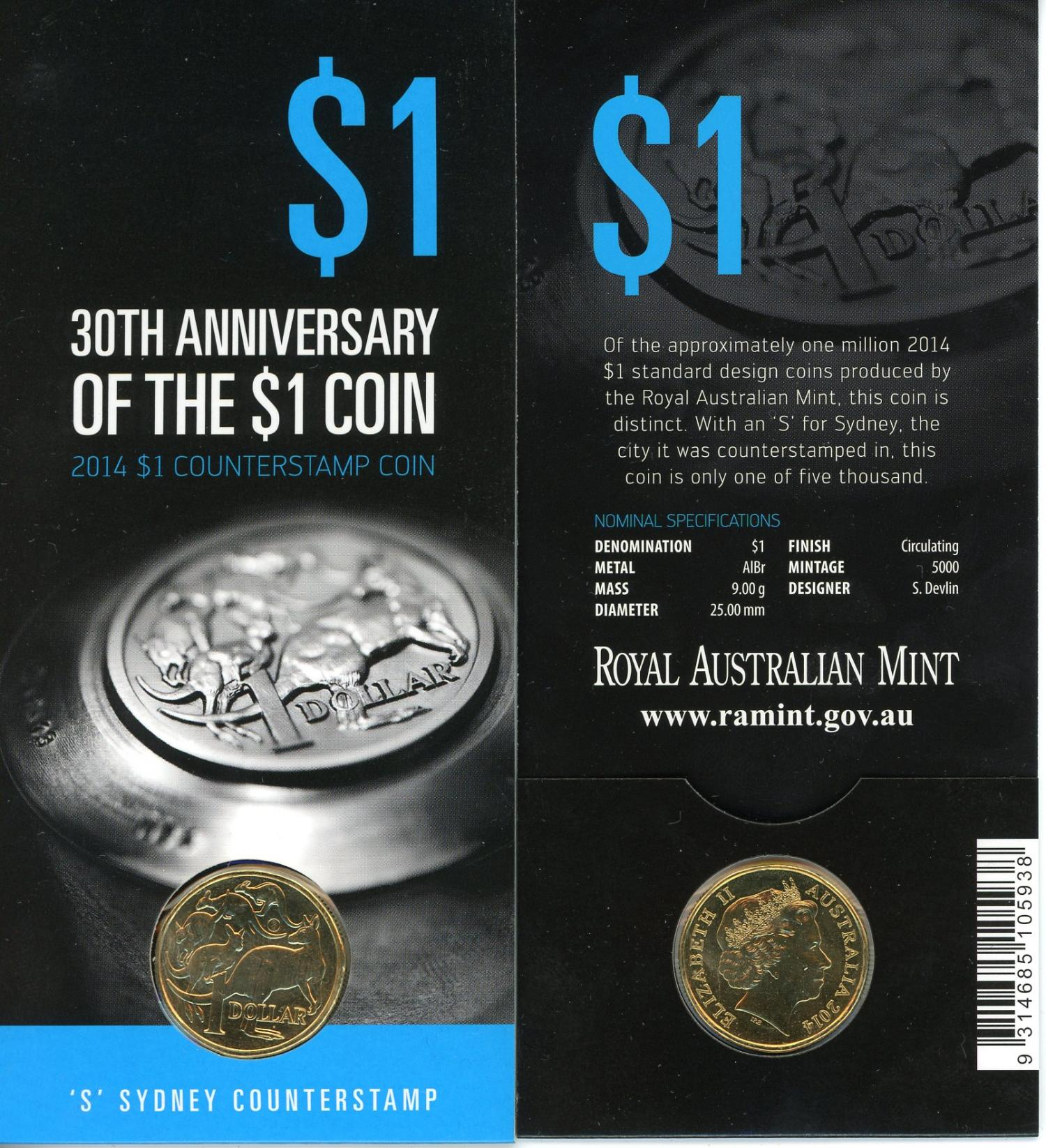 Thumbnail for 2014 30th Anniversary Sydney Counterstamp $1.00
