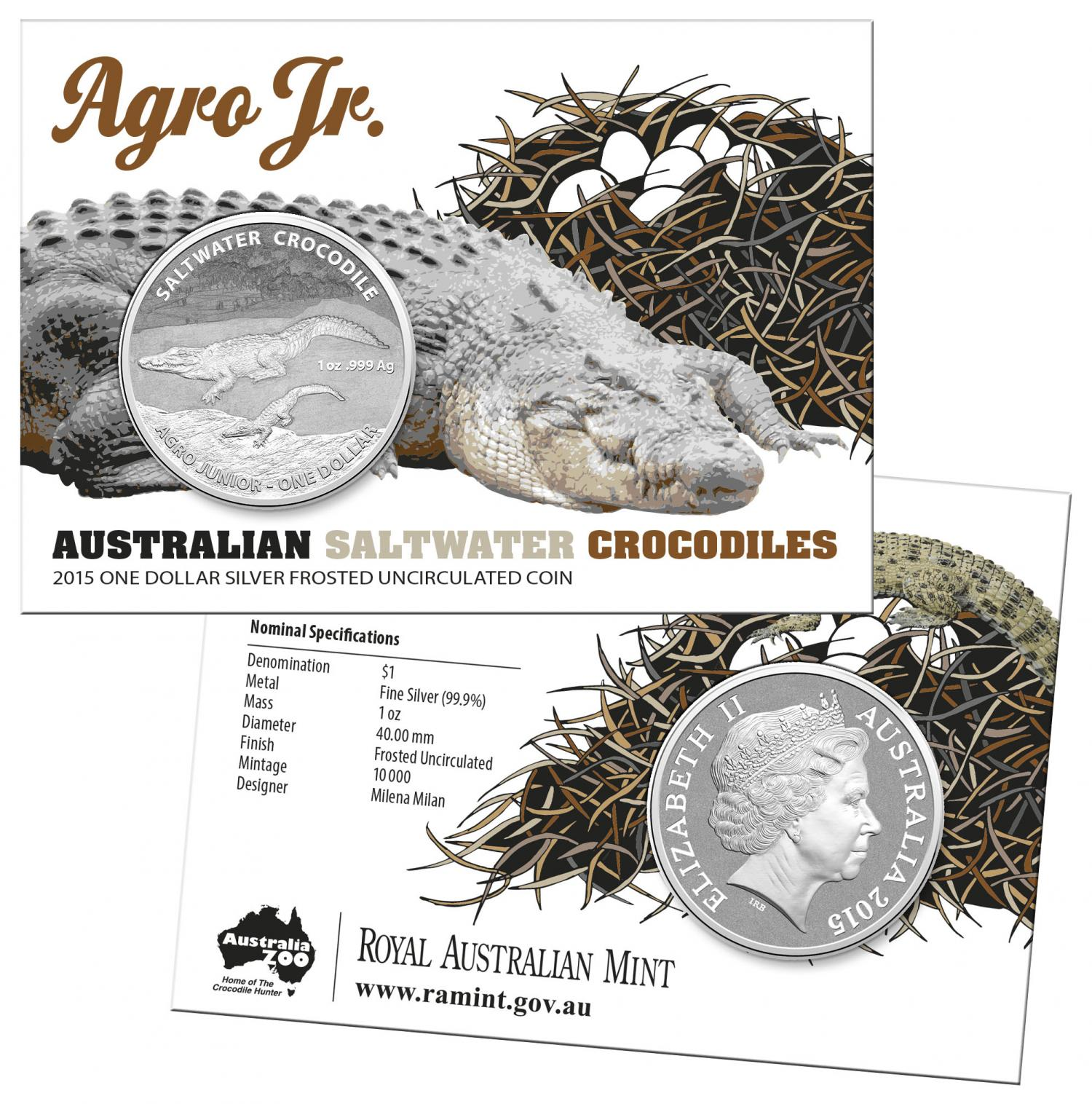Thumbnail for 2015 Australian Silver 1oz Saltwater Crocodile - Agro Jr