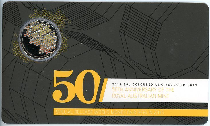Thumbnail for 2015 Coloured 50c 50th Anniversary of the Royal Australian Mint - Berlin World Money Fair Issue