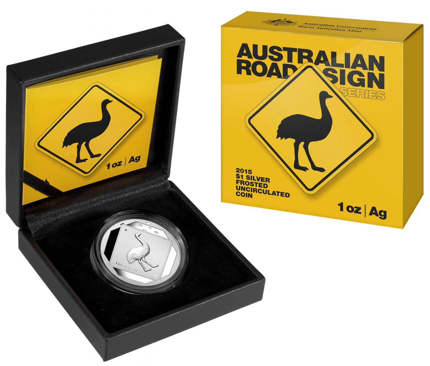Thumbnail for 2015 1oz Silver Road Sign Series - Emu