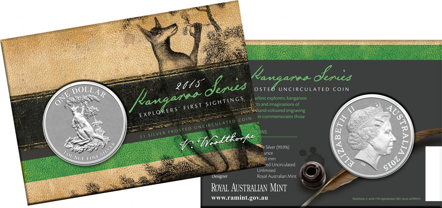 Thumbnail for 2015 $1 Silver Frosted Coin Kangaroo Series - Explorer's First Sightings
