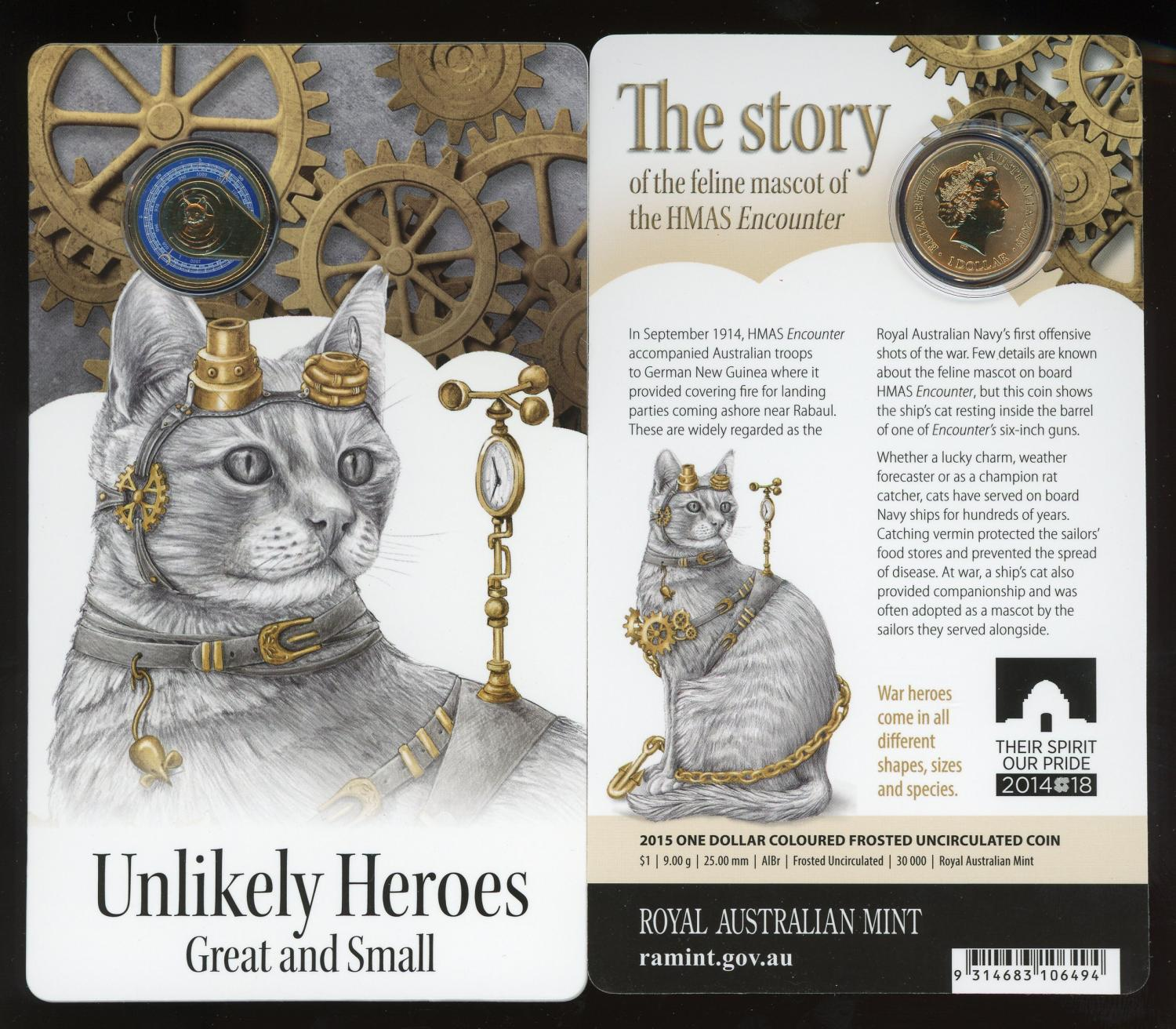 Thumbnail for 2015 Unlikely Heroes - Feline Mascot of the HMAS Encounter