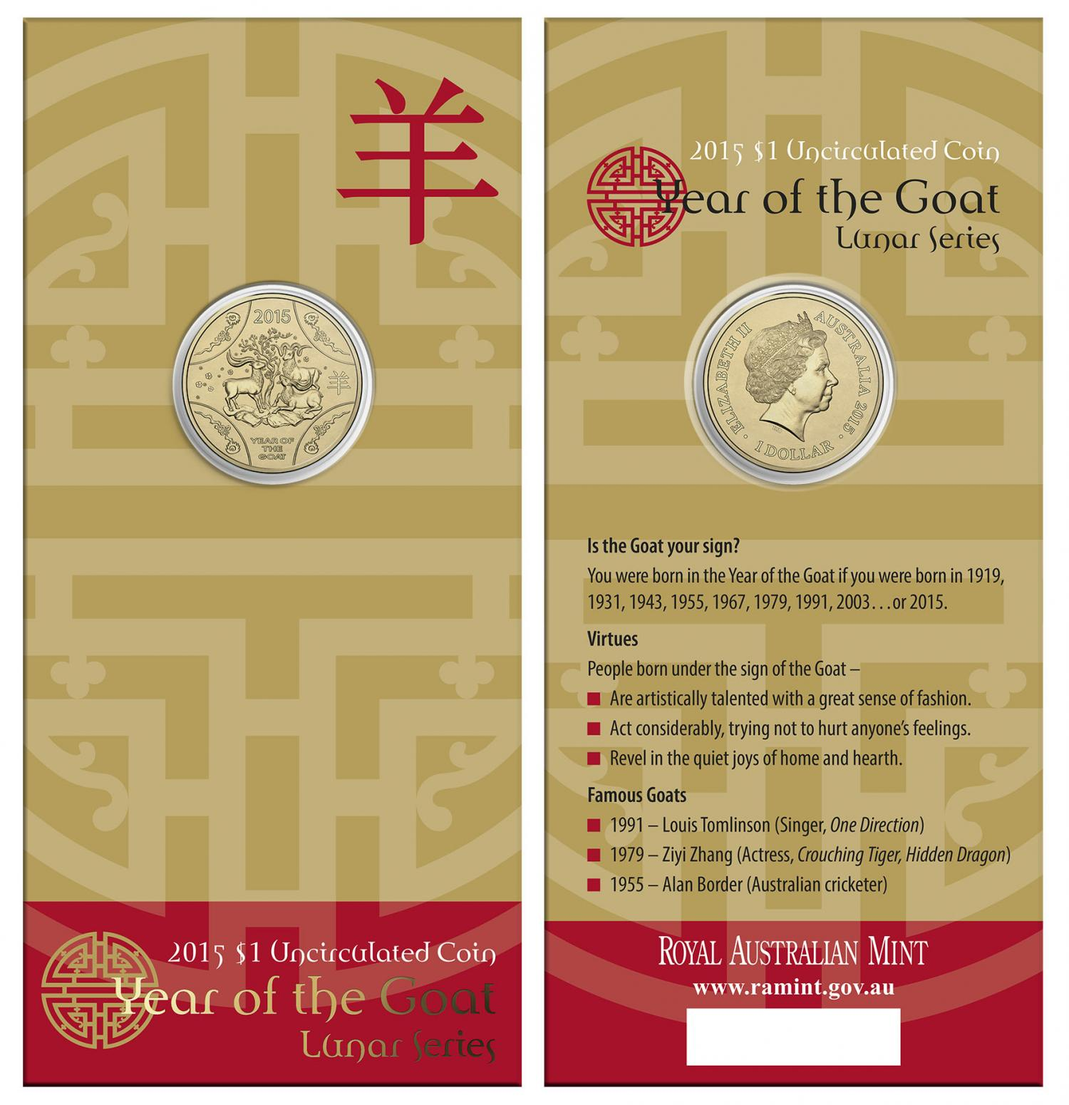 Thumbnail for 2015 Year of the Goat Uncirculated Dollar on Card