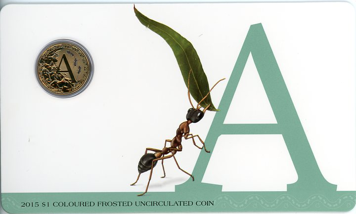 Thumbnail for 2015 $1 Coloured Frosted Alphabet UNC Coin - A Is For Ant