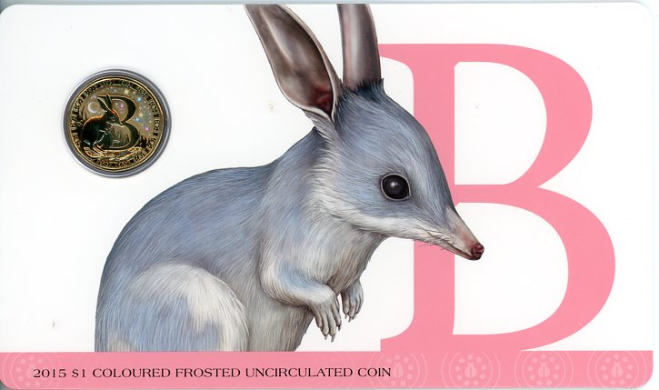 Thumbnail for 2015 $1 Coloured Frosted Alphabet UNC Coin - B Is For Bilby