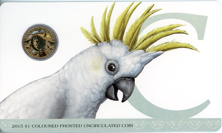Thumbnail for 2015 $1 Coloured Frosted Alphabet UNC Coin - C Is For Cockatoo
