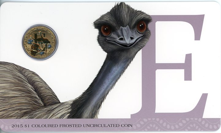 Thumbnail for 2015 $1 Coloured Frosted Alphabet UNC Coin - E Is for Emu